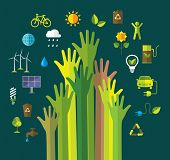 Environment and ecology banner with flat icons. Green energy. Recycling.  poster