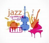 Colorful Jazz instruments set. isolated  on white. illustration poster