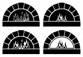 vector black and white clipart set of ovens with burning fire poster