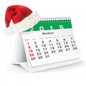 March 2015 desk calendar with Christmas hat - vector illustration poster