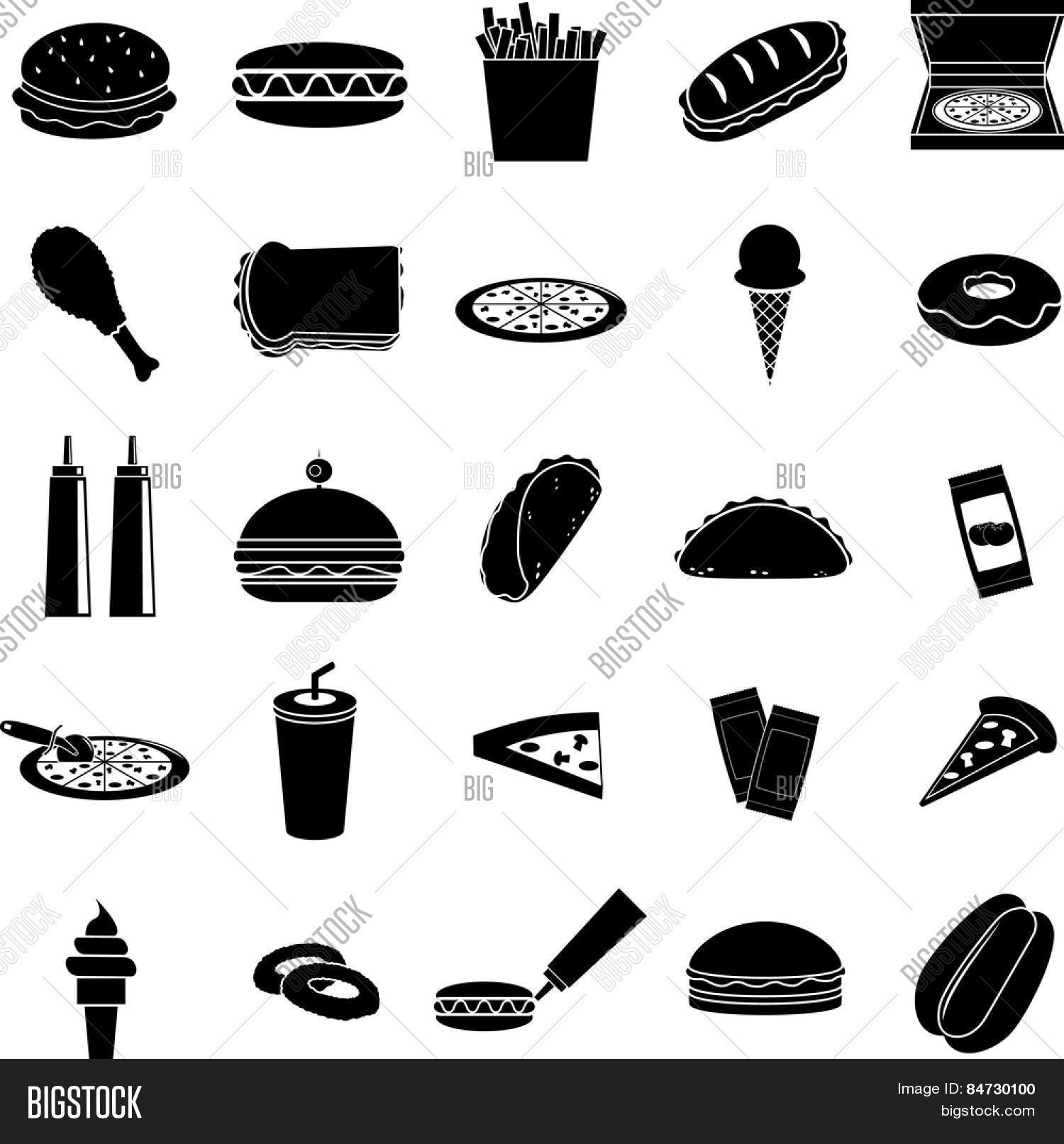Fast Food Symbols Set Vector Photo Free Trial Bigstock