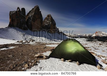 Moonlight camping at Tre Cime di Lavaredo, The Dolomites,Italy