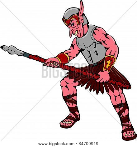 Orc Warrior Thrusting Spear Cartoon