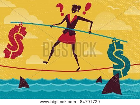 Businesswoman Walks The Financial Tightrope.