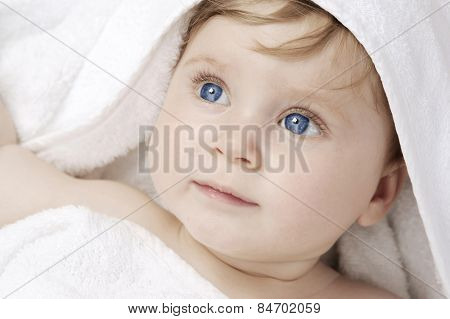 beautiful baby after bathing