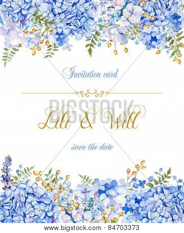 Invitation Card. Vector Blue Watercolor Flowers.