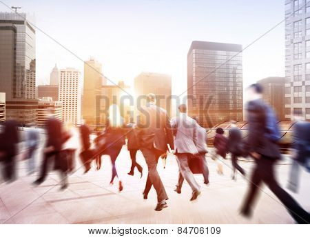 Business People Walking Commuter Travel Motion City Concept poster
