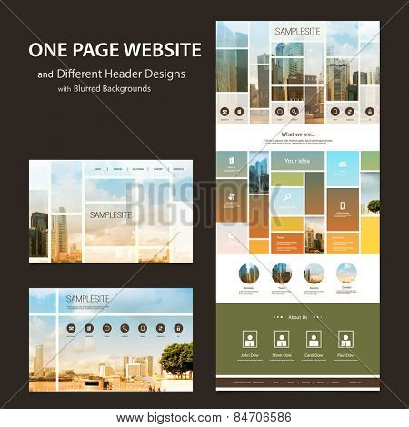 One Page Website Template and Different Header Designs with Blurred Backgrounds - Mosaics