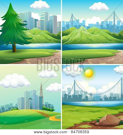 four scenes of cities and parks