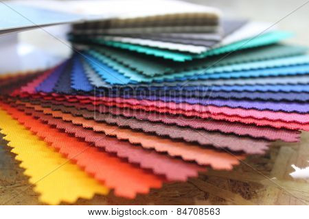 Fabric rainbow color swatch book