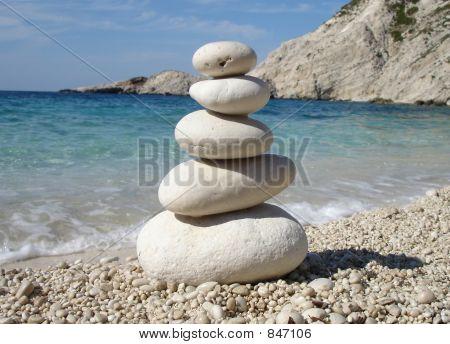 Zen Style Stones by the Sea