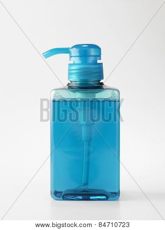 Plastic Bottle with liquid soap on a white background poster