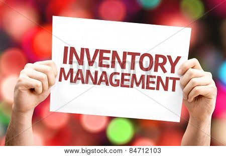 Inventory Management card with colorful background with defocused lights
