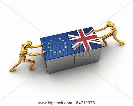 Political or financial concept of the European Union struggling and finding a solution with the United Kingdom.