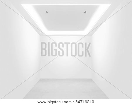 Bright empty room and blank wall