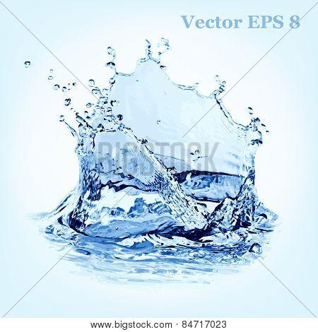 Blue water splash, vector illustration EPS 8.