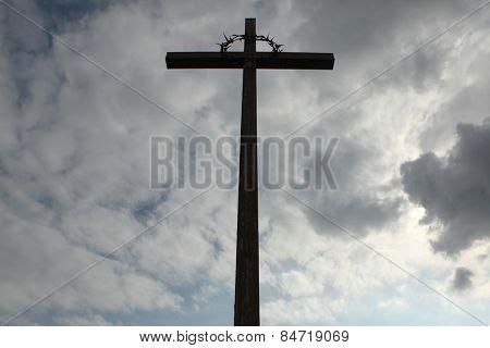 Wooden Latin cross over the National Cemetery in Terezin, Czech Republic.