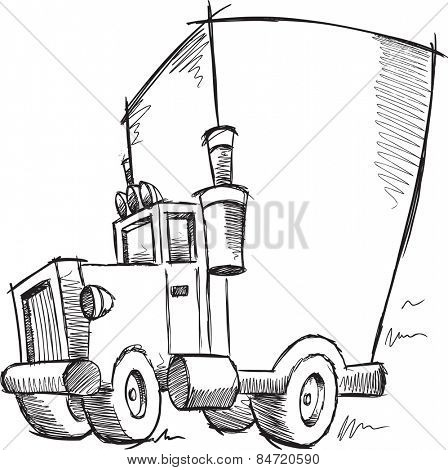 Doodle Sketch Cargo Truck Vector Illustration