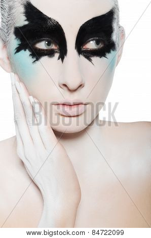 Face Of Attractive Woman, Black And White Makeup