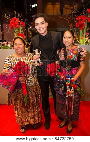 BERLIN,GERMANY-FEBRUARY 14: M. Telon, J. Bustamante, M.M. Coroy, silver bear Alfred-Bauer-Preis. Closing Ceremony. 65th Berlin Film Festival at Berlinale Palace on February 14, 2015 in Berlin, Germany