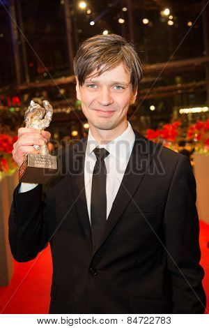 BERLIN, GERMANY - FEBRUARY 14: S. B. Grovlen, best camera, movie 'Victoria'. Closing Ceremony.  65th Berlinale International Film Festival at Berlinale Palace on February 14, 2015 in Berlin, Germany.