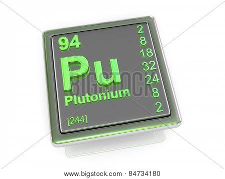 Plutonium. Chemical element. 3d poster
