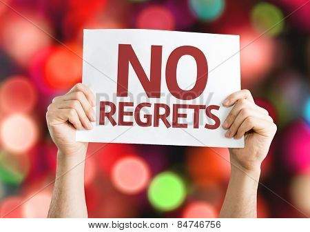 No Regrets card with colorful background with defocused lights