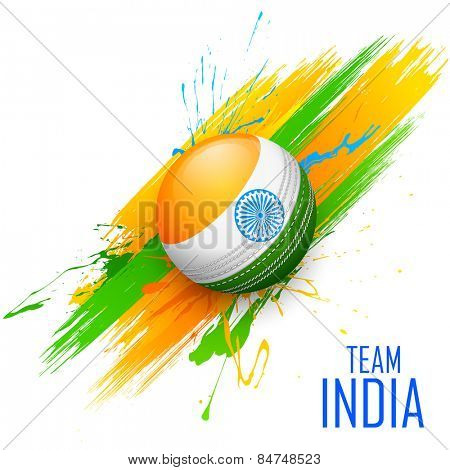 illustration of cricket ball in grungy India background