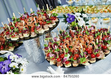 catering services background with snacks on guests table in restaurant at event party poster