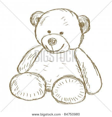 Hand drawn Teddy bear doodle illustration
