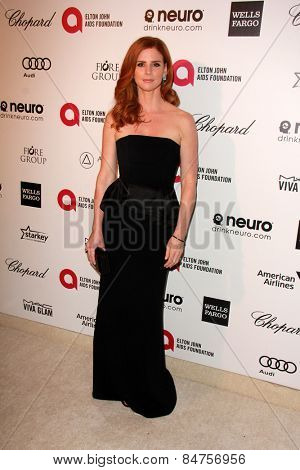 LOS ANGELES - FEB 22: sarah rafferty at the Elton John Oscar Party 2015 at the City Of West Hollywood Park on February 22, 2015 in West Hollywood, CA