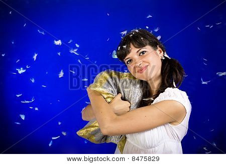 Woman Hugs The Pillow