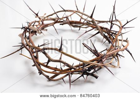 Crown of thorns on a white background Easter religious motif commemorating the resurrection of Jesus- Easter