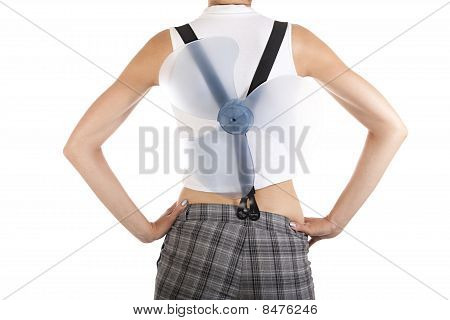 Woman's Back With A Propeller