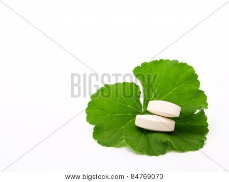 Pills on the green leaf.