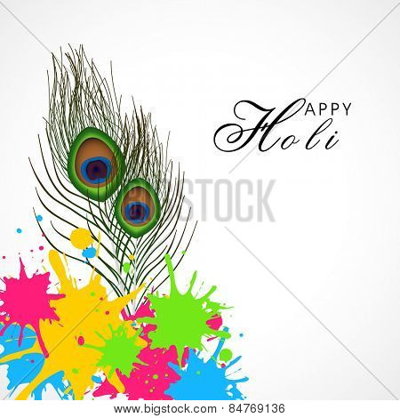 Glossy peacock feather with colorful splash on white background for Indian Festival, Holi celebration.