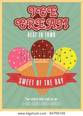 Stylish vintage menu card design for ice cream parlor or restaurant.