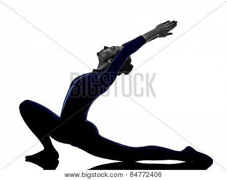 woman exercising Anjaneyasana lunge pose yoga silhouette shadow white background poster