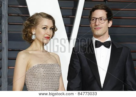 LOS ANGELES - FEB 22:  Joanna Newsom, Andy Samberg at the Vanity Fair Oscar Party 2015 at the Wallis Annenberg Center for the Performing Arts on February 22, 2015 in Beverly Hills, CA