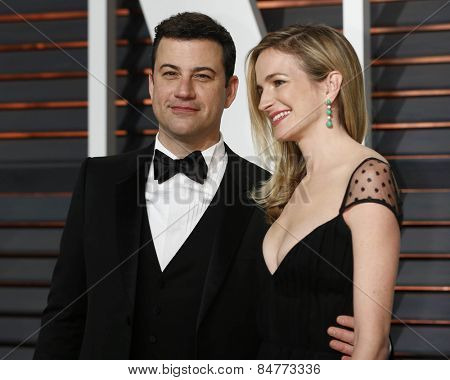 LOS ANGELES - FEB 22:  Jimmy Kimmel, Molly McNearney at the Vanity Fair Oscar Party 2015 at the Wallis Annenberg Center for the Performing Arts on February 22, 2015 in Beverly Hills, CA