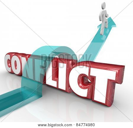 Arrow over word Conflict as a person tries to avoid confrontation, battle, disagreement, dispute and fights with others