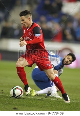 BARCELONA - JAN, 22: Kevin Gameiro of Sevilla FC during spanish League match against RCD Espanyol at the Estadi Cornella on January 22, 2015 in Barcelona, Spain