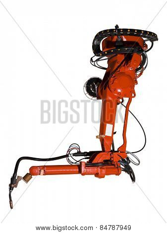 Red Industrial machine part on white background
