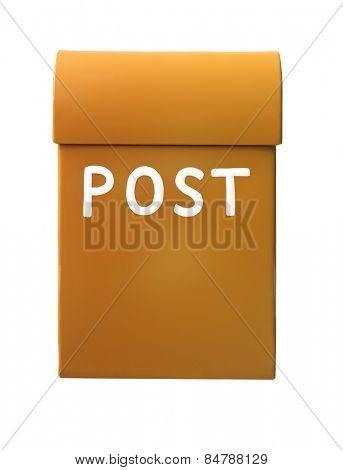 Orange mailbox isolated on a white background