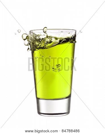Splash in a glass of green lemonade