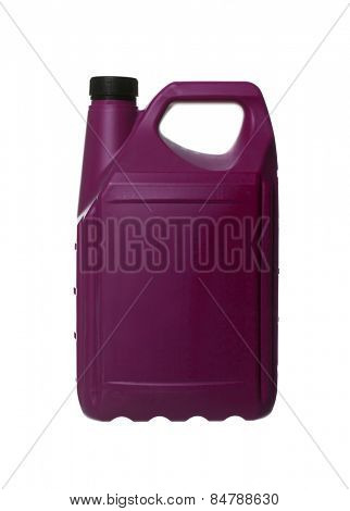 Purple plastic can isolated on white background