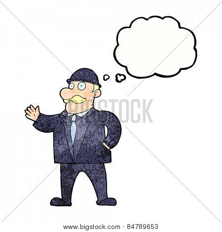 cartoon sensible business man in bowler hat with thought bubble
