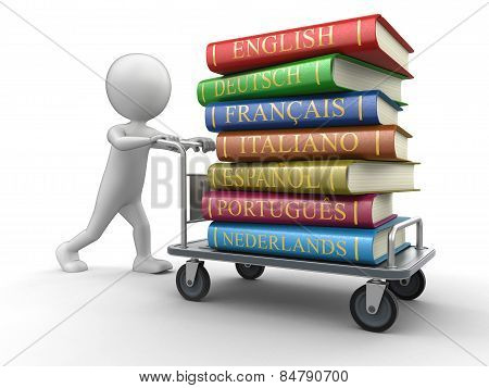 Man and Handtruck with Stack of dictionaries