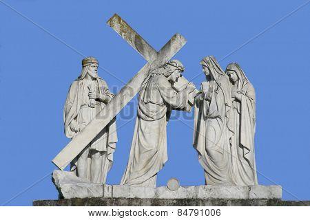 MARIJA BISTRICA, CROATIA - June 29: 4th Stations of the Cross, Jesus meets His Mother,  pilgrimage Sanctuary, Assumption of the Virgin Mary in Marija Bistrica, Croatia, on June 29, 2009