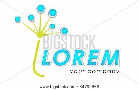 Abstract vector logo template, stylized floral logo, stylized umbrella of dandelion, blowball logo, isp logo, community logo, charity logo, social service logo, deliver service logo poster